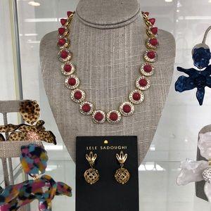 NWOT $420 Lele Sadoughi Crystal Token Necklace